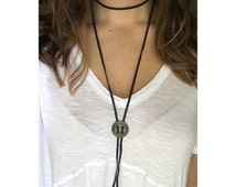 Bolo Tie Medalion Necklace / Leather Wrap Around Necklace / Double Wrap Necklace / Choker /