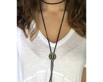 Leather wrap bolo tie choker necklace