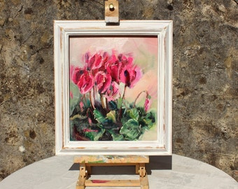 Original Oil painting, floral still-life, Textured Palette knife painting of pink Cyclamen flowers, on 10x12in canvas board