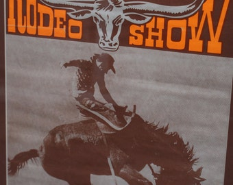 Original vintage 1960's advertising poster for 'Max Carla's Rodeo Show' framed