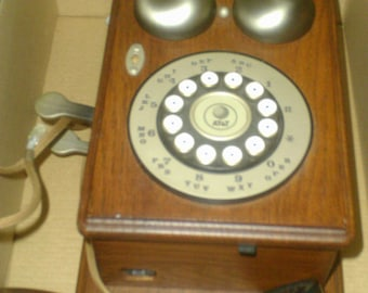 Vintage Wooden Western Electric Wall Phone With Rotary Dial