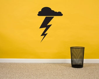Lightning Bolt Wall Vinyl Sticker Decal, Kids Room Sticker, Thunder Wall Sticker, Storm, Cloud Vinyl