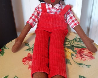 Red Jumpsuit fabric doll