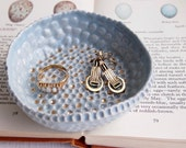 Serenity blue ceramic ring dish  gold dots, jewellery dish, catchall, pottery ring dish, ring dish, plate, ring holder, ceramic ring dish