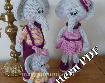 Crochet Pattern, pattern, tutorial, Amigurumi Elephant family