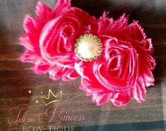 Hot pink flower clip with bling