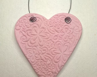 Heart ornament, imprinted decoration, pink heart ornament, floral heart, salt dough ornament, mothers day gift, gift tag, keepsake.