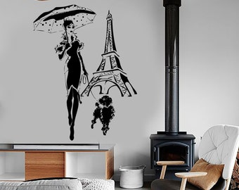 Wall Vinyl Decal Travel Paris Eiffel Tower Fashion Girl with Umbrella and Poodle Sketch Retro Home Decor (#1221dz)