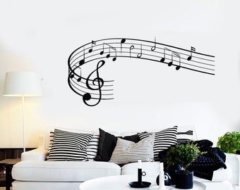Wall Vinyl Music Notes Clef Rock Pop Song Singing Guaranteed Quality Decal 1535dz