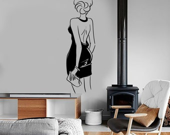 Wall Decal Fashion Girl With Purse Sexy Beautiful Vinyl Sticker Mural Art 1591dz
