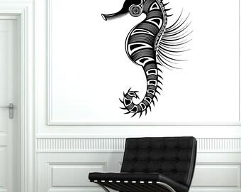 Wall Vinyl Sea Horse Ocean Symbol Ornament Mural Vinyl Decal Sticker 1746dz