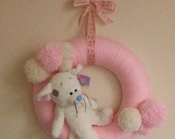 Baby Girl Pom pom Wreath