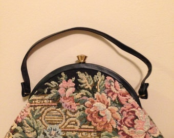 Ladies Floral Tapestry Handbag Purse by Harry Levine and Made in the USA!