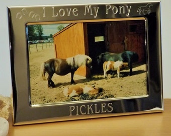 Personalised Engraved I Love My Pony ~ I Love My Horse Photo Frame, Silver Plated, holds a landscape photo, Birthday Christmas Gift