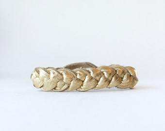 Gold Braided Leather Bracelet, Metallic Leather Bracelet, Thin Gold Bangle Stacking Braid, Diffuser Bracelet, Bracelet for Kids