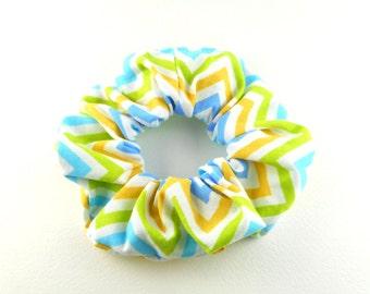 Scrunchie - vintage style - herringbone yellow blue green
