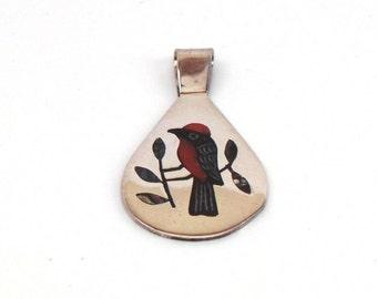 Handmade Native American Zuni Sterling Silver Black Bird Multi Stone Pendant