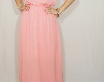 Coral Bridesmaid dress Long dress Chiffon dress Prom dress Keyhole dress