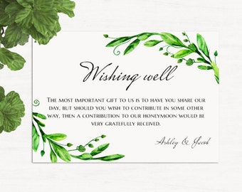 Wishing Well Cards Green Wedding Printable Summer Instant Download Template Lieu