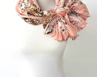 Pink Floral Scarf, Cotton Scarf, Women's Scarf Shawl, Women Fashion Accessories, Gifts For Her, Fashion Scarf, Boho Scarves, Winter Scarf