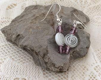 Lollipop white and mauve earrings