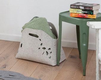 Fire wood basket, wool felt storage basket, multi layer felt basket, felt bin, fier wood holder, fire wood rack, felt magazien holder