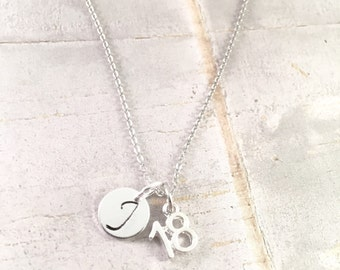 Birthday necklace, Number 18 Charm Necklace, 18th birthday Necklace, Daughter Gift, initial charm necklace, personalized necklace