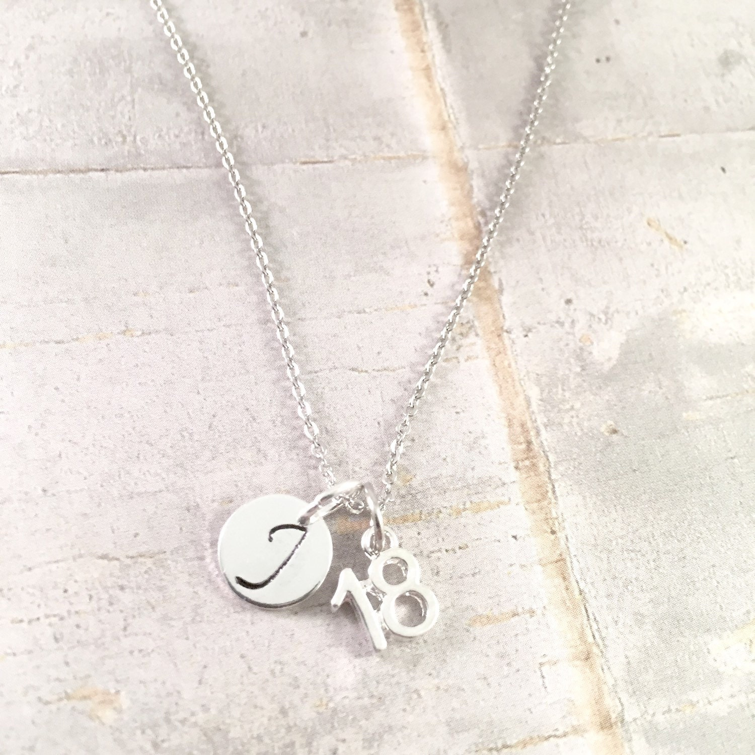 18th Birthday Heart Initial Bracelet 18th Birthday Jewelry: Birthday Necklace Number 18 Charm Necklace 18th Birthday
