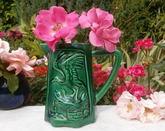 "Antique french Vintage Jug of St Clément ""storks"" in green Majolica 1930'c - pitcher in green slip of St Clement 1930"