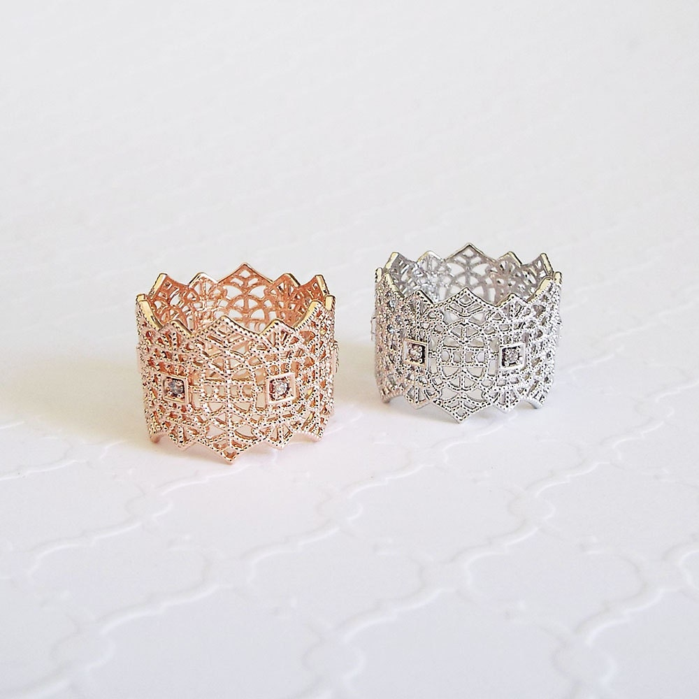Wide lace ring delicate wide band stackable crown ring engagement ring statement ring gift for girlfriend