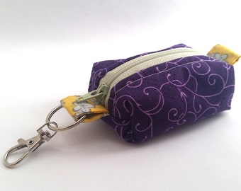 PURPLE SWIRLS Keychain Tiny Pouch | Mini Zipper Pouch | Coin Purse | Boxed Pouch | On-the-go Pouch