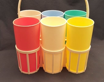 Vintage Set of 6 Plastic Tumblers Cups in Caddy Retro