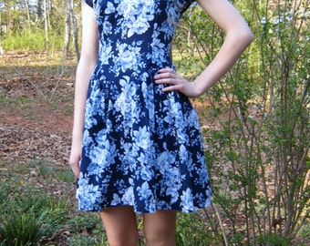 1940s style floral dress, upcycled 1940s style dress