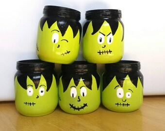 Frankenstein Goody Jars - Frankenstein Decorations - Frankenstein Halloween Decor - Halloween Decor