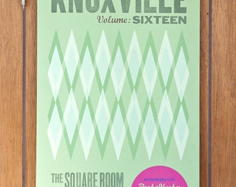 Pecha Kucha Geometric Mint Green Letterpress Poster - Knoxville, TN