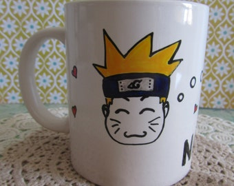 "White Cup ""Naruto loves ramen"" handpainted / / White mug ""Naruto loves ramen"" handpainted"