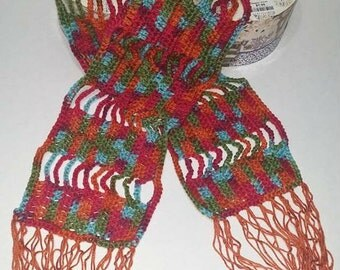 Vibrant autumn colors crochet scarf,great for special occasions, Elegant scarf,Woman gift