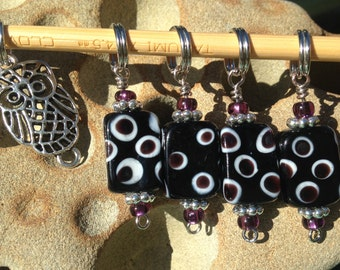 Owl & Polka Dot Stitch Markers - Set of 5