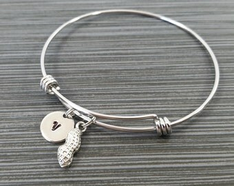 Peanut Bracelet Bangle - Peanut Charm Bracelet - Expandable Bangle - Charm Bangle - Peanut Bangle - Initial Bracelet - Best Friend Gift