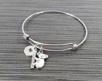 Koala Bangle Bracelet- Koala Charm Bracelet - Expandable Bangle - Charm Bangle - Koala Bracelet - Initial Bracelet - Personalized Bracelet
