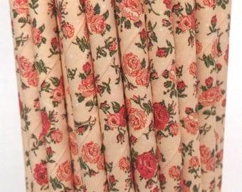 2.85 US Shipping -Floral Paper Straws - Pink Rose Flower Straws - Cake Pop Sticks - Drinking Straws