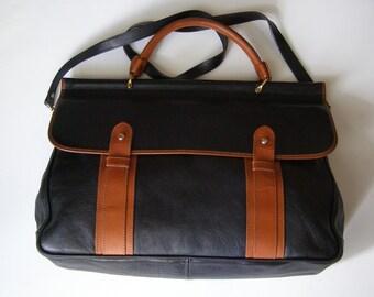 Satchel bag leather black-bag - unisex leather bag - two-tone leather shoulder leather - leather-laptop bag -.