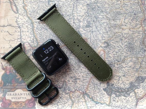 Apple watch original, series 1, series 2 band: Nato/zulu strap 2-pieceApple watch band (army green), Free Shipping Worldwide!