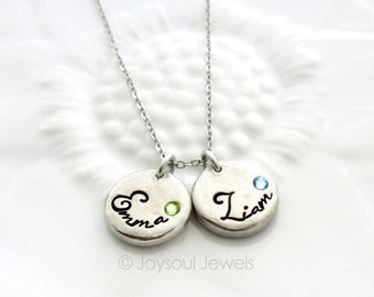 Dainty Birthstone Name Necklace, Mother's Jewelry, Child's Name Necklace, Personalized Necklace, Mom Grandma Gift