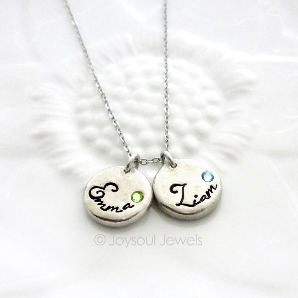 dainty birthstone name necklace mother 39 s jewelry. Black Bedroom Furniture Sets. Home Design Ideas
