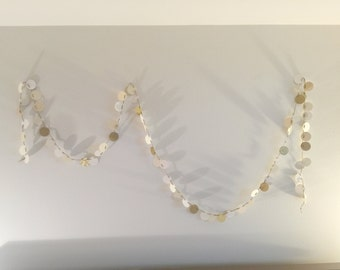 Mini Paper Dot Garland //Ems Collection //Paper Garland // Paper Banner // Party Decor // Gold // Cream