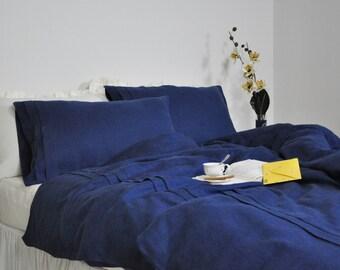 Navy Linen Duvet Cover Set, Queen, King, Full Duvet Cover & Pillowcases - Navy Blue Linen Bedding,  Custom Size, Pleated Duvet Cover Set