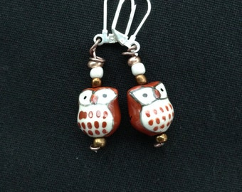 Ceramic Bead Owl and Bead Drop Earring