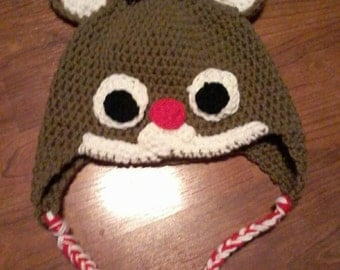 Crocheted reindeer hat