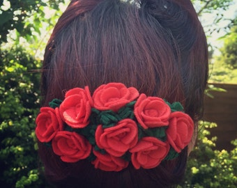 Handmade Vintage Style Red Rose Felt Hair Barrette